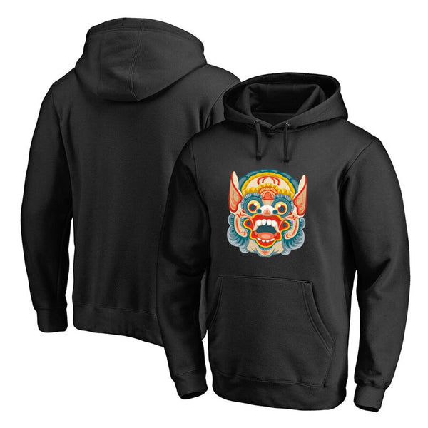 Lion Dance Chinese Style Hoodies Sweatshirt New Men's Fashion Cotton Fleece Hoodies Lover Cotton Casual Hoodie Pullovers Tops