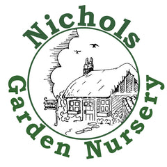 Logo Nichols Garden Nursery in Green text, drawing in circle of cottage with two birds and clouds above