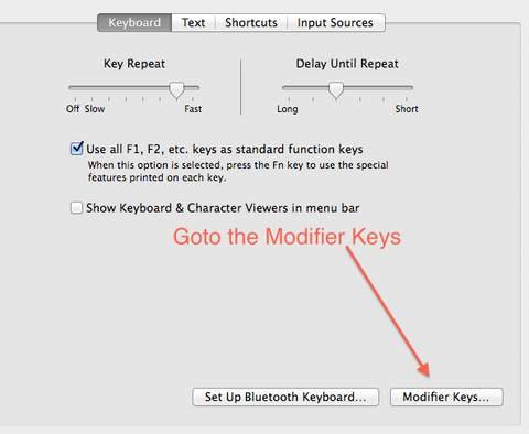 Click on the Modifier Keys