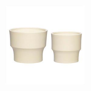 Norr -Danish Designed Ceramic Plant Pots by Hubsch - Beige Small