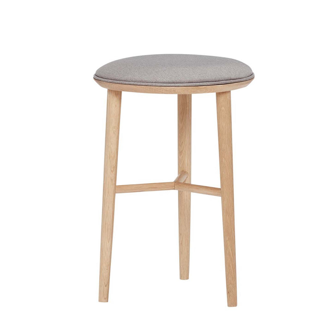 Norr - Danish Designed Oak Short Bar Stool With Padded Cushion by Hubsch