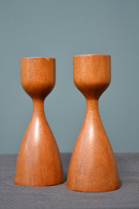 Pair of English Vintage Oak Candlesticks - Mid Century Modern - SOLD