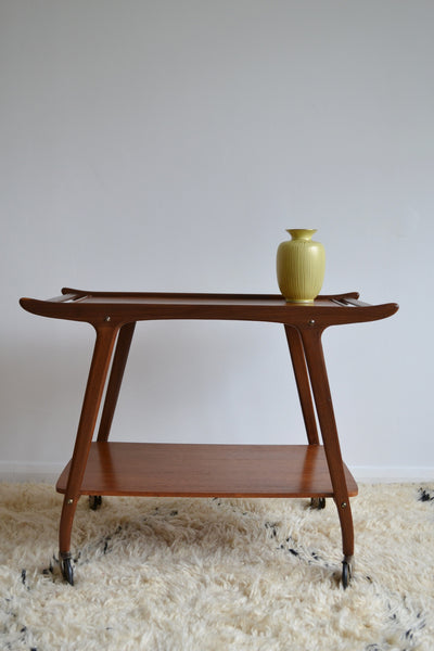 Danish Designed 1950's Walnut Wood Tea/Drinks Trolley - Mid Century Modern - SOLD