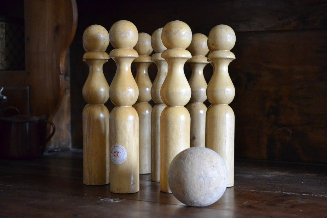 Vintage Set of French Wooden Skittles - SOLD