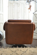 Danish Leather Arm Chair and Footstool - SOLD OUT
