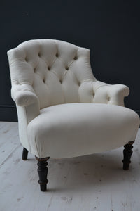 French Napoleon III Button Back Armchair in Vintage Linen Fabric - 19th Century - SOLD