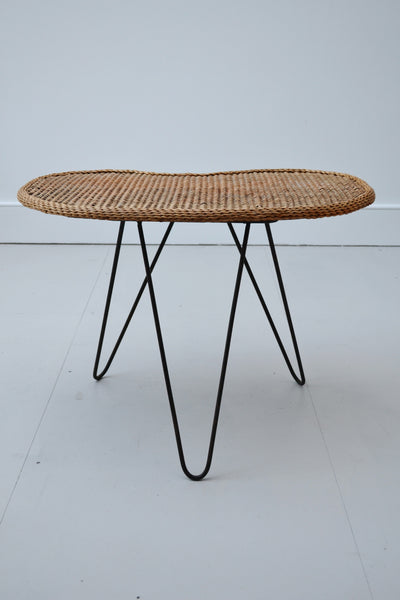 Vintage Wicker/Rattan Table with Hair Pin Legs - 1950's - SOLD