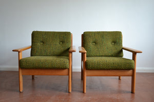 Vintage Danish Oak Sofa and Armchairs - Mid century Modern - 1960's - SOLD