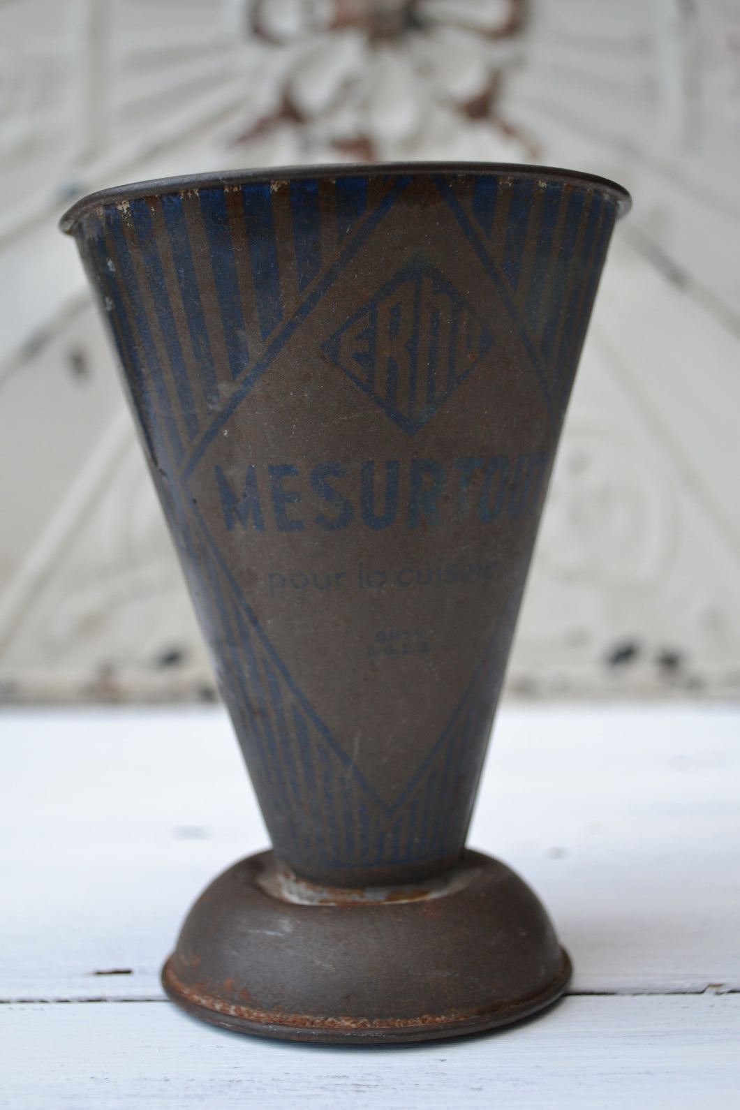 Vintage French Metal Measuring Jug