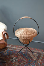French Vintage Rattan Sewing Basket - 1950's -SOLD