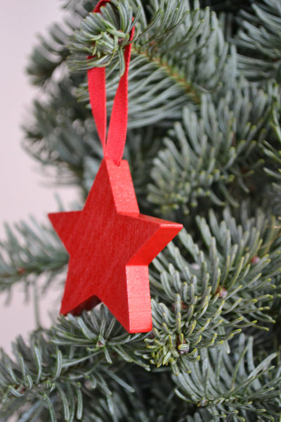 Handmade Danish Wooden Xmas Tree Decorations - Red Star