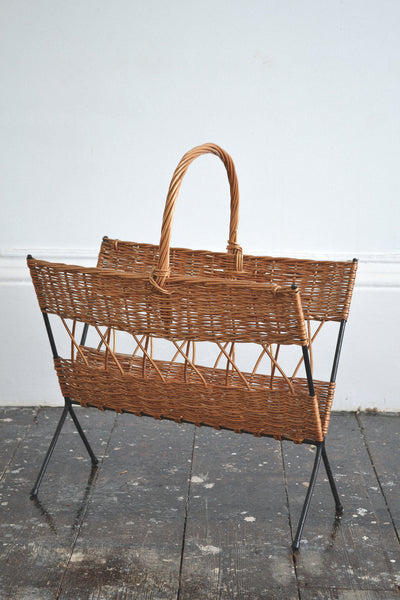 French Vintage Rattan/Wicker Magazine Holder - Original 1950's