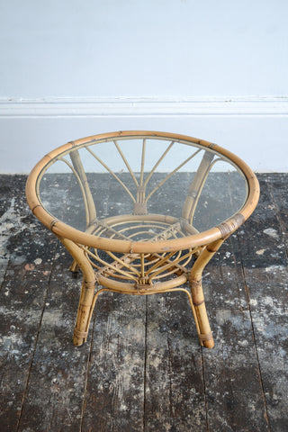 French Vintage Rattan/Bamboo Glass Coffee Table - Original 1950's