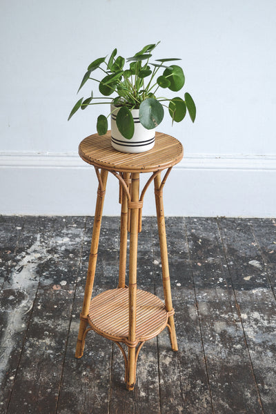 French Vintage Rattan/Bamboo Plant Stand - Original 1950's