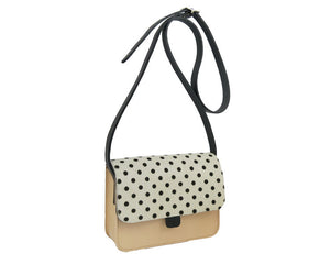 Nude And Dotty Leather Tab Bag By Kate Sheridan