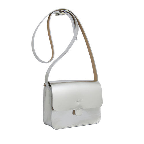 Silver Leather Tab Bag By Kate Sheridan