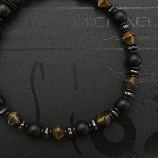 Onyx and Glass Bracelet