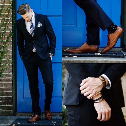 Tan bracelet and navy suit group