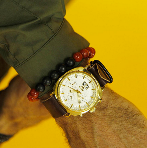 Coral And Onyx Bracelet (KENTON MICHAEL) | Watch (Rapp Black)