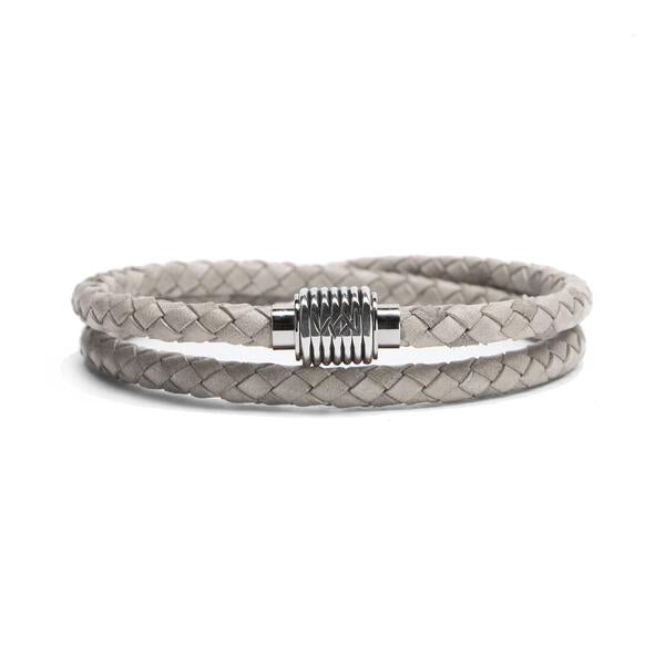 Sterling Coil, Braided Leather Double