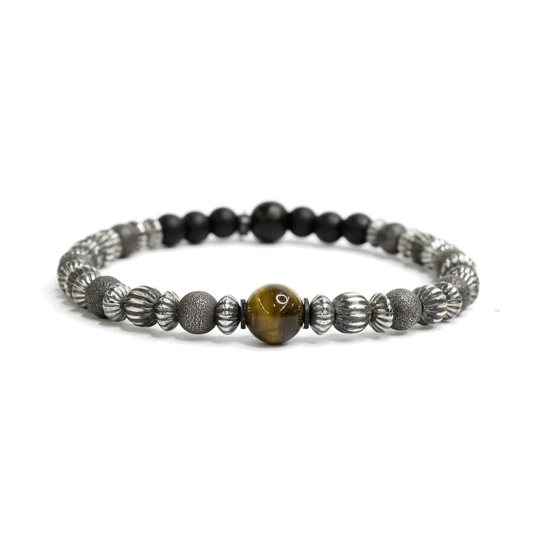 Textured Sterling Beads, Tiger Eye