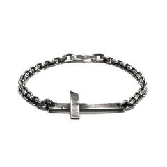 Rugged Sterling Cross and Chain Bracelet