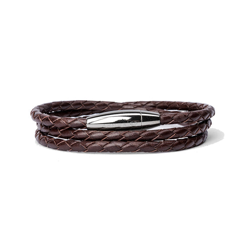 Leather Double Wrap Bracelet w/ Sterling Coil