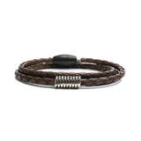 Sterling Coil, Braided Leather Wrap