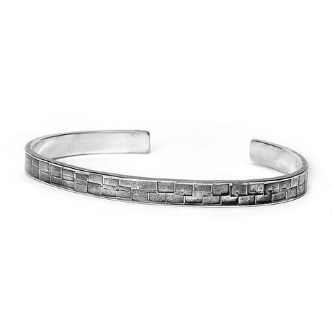 Hammered Square Pattern, Narrow Sterling Cuff