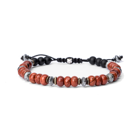 Sterling Bead Stack, Wood and Onyx