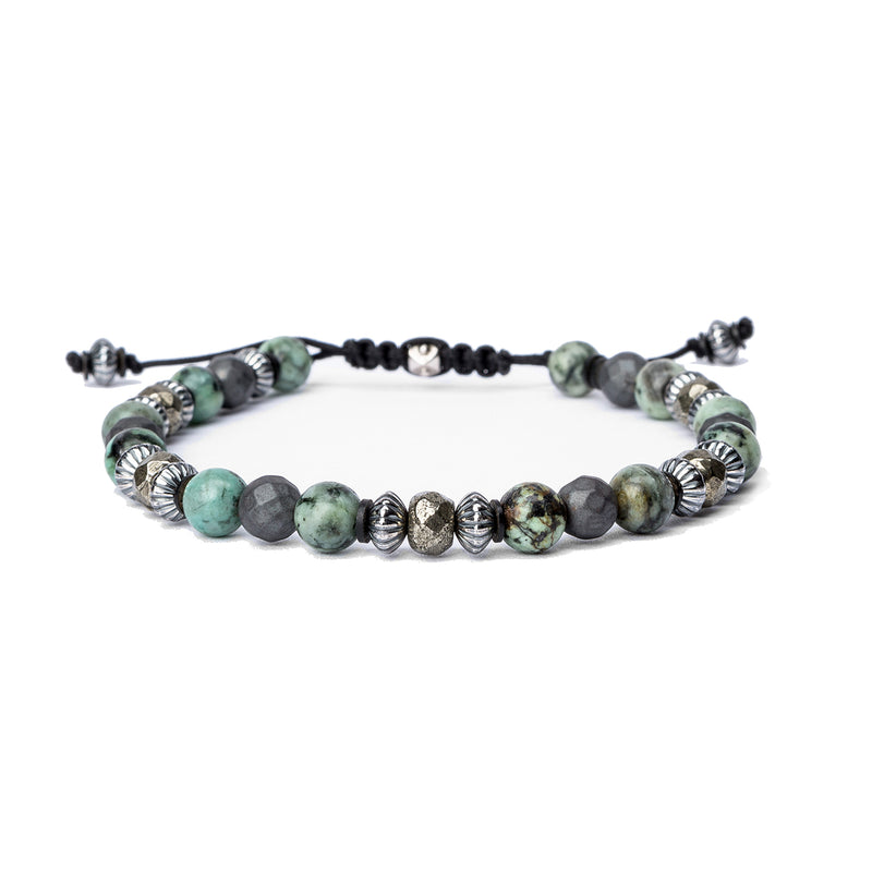 Pyrite, Hematite, Sterling Sequence Bracelet