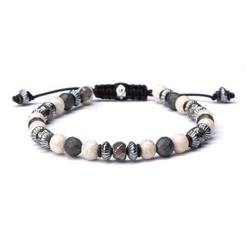 Large Sterling Bead Shields Bracelet