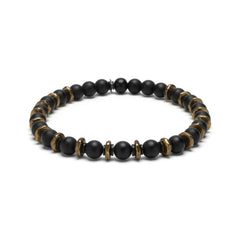Black Onyx and Brass Beaded Bracelet