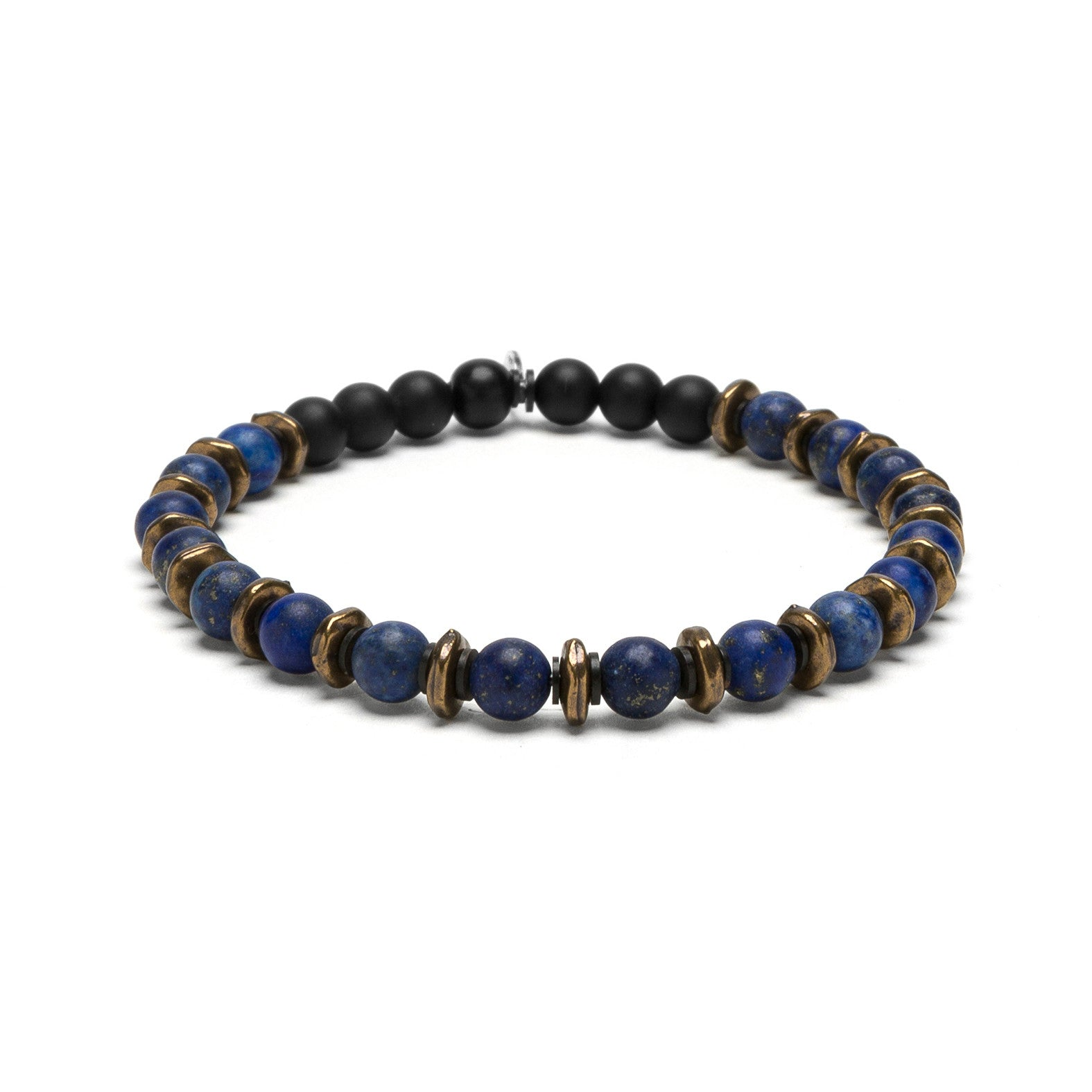 Blue Lapis and Brass Beaded Bracelet