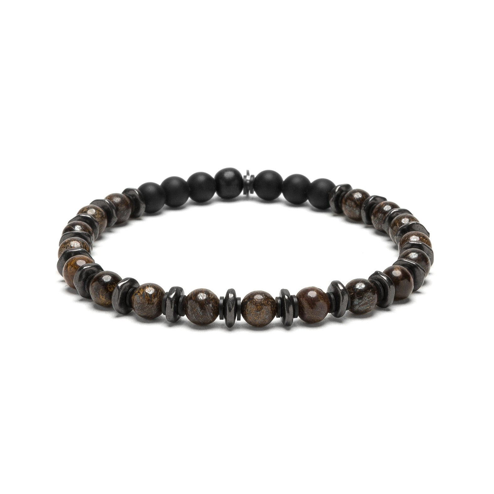 Stone and Gunmetal Sequence Bracelets