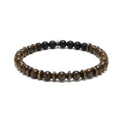 Brown Bronzite and Brass Beaded Bracelet