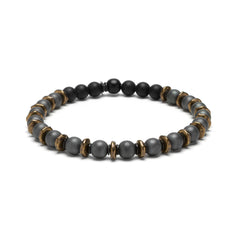 Gray Hematite and Brass Beaded Bracelet