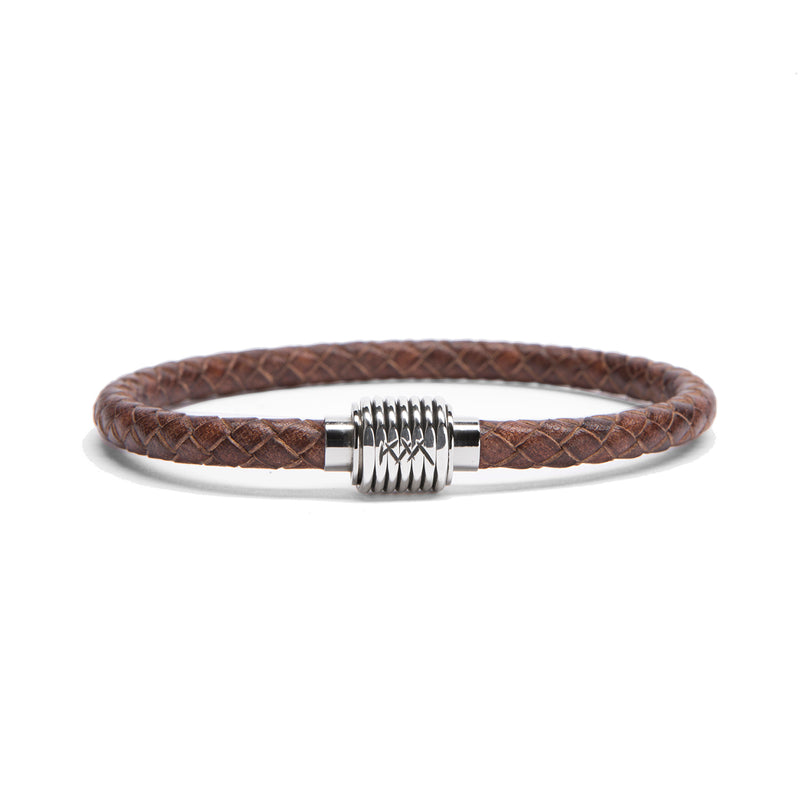 Sterling Coil, Braided Leather
