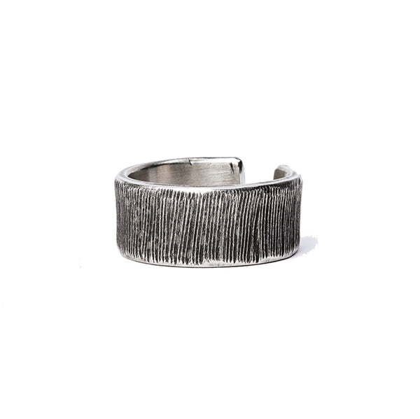 Etched Sterling Silver Wide Ring