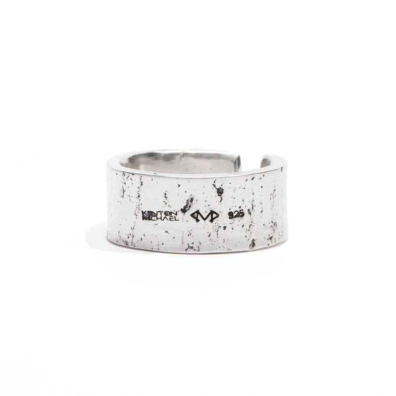Textured Sterling Silver Wide Ring
