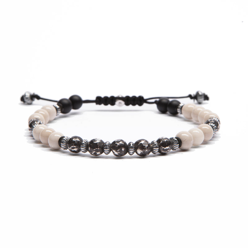 Antiqued Sterling Beads and Stone Bracelet