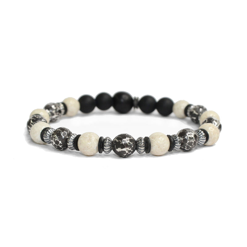 Antiqued Large Sterling Beads, Stone Bracelet