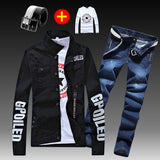 Men's Slim Fit Denim Jacket Pants 2pcs Set Long Sleeve Coats Letters Printed Casual Large Size Black White Red Boys Trousers