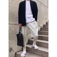 Miyake Pleated men's casual straight pants harem pants trend loose nine points running track pants men 2005