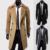 Winter Wool Jacket Men's Coat Warm Solid Jacket Double Breasted Business Casual Overcoat long cotton collar trench coat