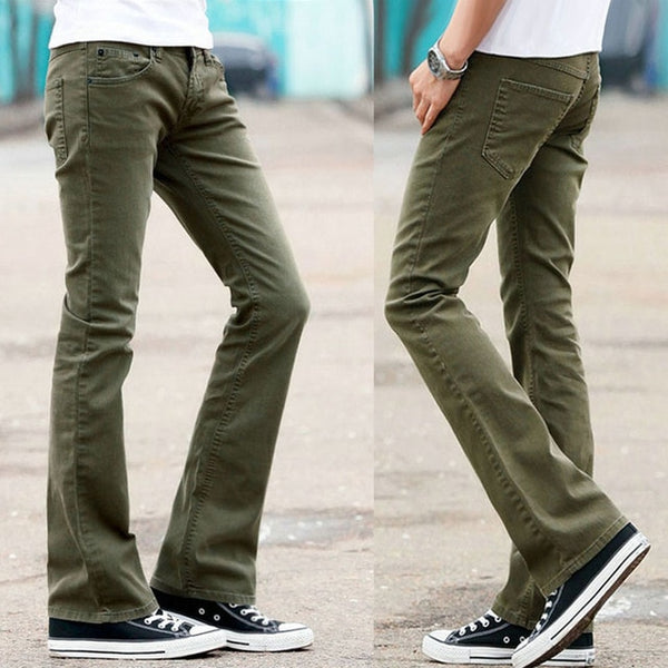 New style men's flared jeans trousers high waist long flared jeans men green black jeans flared pants jeans men