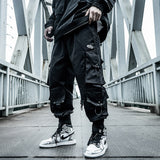 Harajuku Paratrooper Pants Men's clothes Loose Trendy Hip Hop Drawstring Cargo Pants Multi-pocket Drawstring Overalls Hip hop