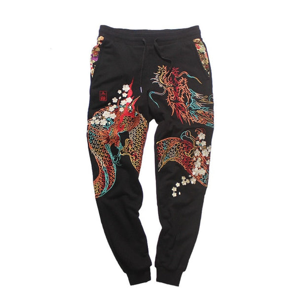 IEFB /men's clothing Autumn sweatpants Chinese dragon embroidered pants fashion streetwear casual drawstring waist pants 9Y3764