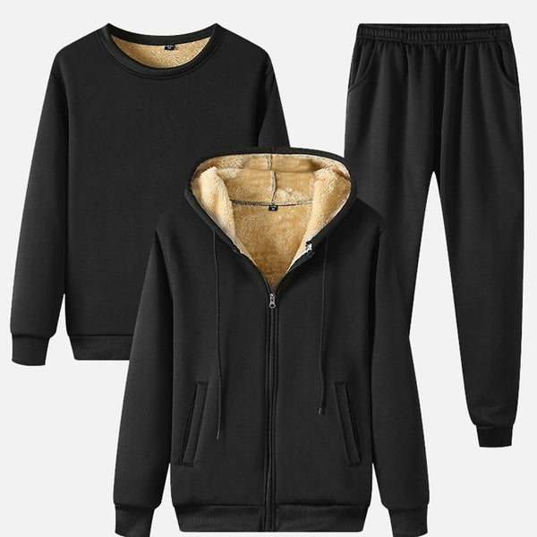Winter Men's Black Fleece 3 Pieces Set Thicken Warm Hoodies Pullover + Pants + Outwear Sets Loose 2021 Casual Fashion Male Suits