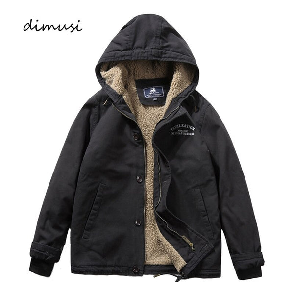 DIMUSI Men's Bomber Jacket Winter Fashion Fleece Warm Hooded Coats Casual Outwear Army Thermal Slim Fit Jackets Mens Clothing